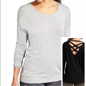 Athleta Size Medium Crossback CYA Sweatshirt Gray